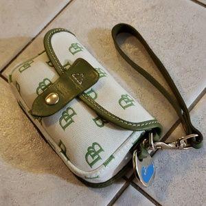Dooney & Bourke Green White Wristlet Clutch Bag